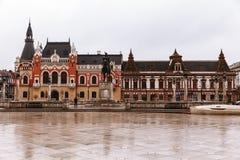 Zjednoczenie kwadratowy Piata Unirii widzieć przy deszczowym dniem w Oradea, Rom Obraz Royalty Free