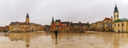 Zjednoczenie kwadratowy Piata Unirii widzieć przy deszczowym dniem w Oradea, Rom Obrazy Stock