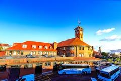 Zjednoczenie staci pociągu transportu Powikłanego budynku Zegarowy wierza fotografia royalty free