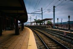 Zjednoczenie tory szynowi w Nowym Londyn i stacja, Connecticut obrazy stock