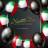 Zjednoczone Emiraty Arabskie święta państwowego Szczęśliwy kartka z pozdrowieniami 2 Grudzień Balony z emirat flaga i złocisty ge Fotografia Stock