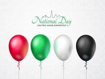 Zjednoczone Emiraty Arabskie święta państwowego Szczęśliwy kartka z pozdrowieniami 2 Grudzień Balony z emirat flaga kolorami, odo Zdjęcie Royalty Free
