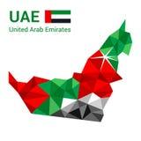 Zjednoczone Emiraty Arabskie flaga mapa w poligonalnym geometrycznym stylu fotografia stock