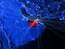 Zjednoczone Emiraty Arabskie na błękitnej cyfrowej mapie z sieciami Pojęcie międzynarodowa podróż, komunikacja i technologia, 3d ilustracji