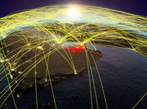 Zjednoczone Emiraty Arabskie na ziemi z sieciami ilustracja wektor