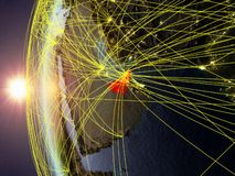 Zjednoczone Emiraty Arabskie od przestrzeni z siecią ilustracja wektor