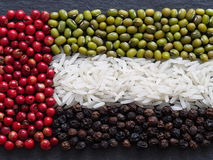 Zjednoczone Emiraty Arabskie zaznacza, robi ryż i condiments Fotografia Royalty Free