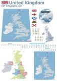 Zjednoczone Królestwo mapy z markierami ilustracji