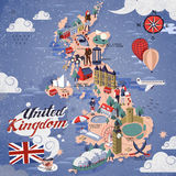 Zjednoczone Królestwo podróży mapa Obrazy Royalty Free