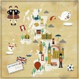 Zjednoczone Królestwo podróży mapa Fotografia Stock