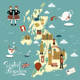 Zjednoczone Królestwo podróży mapa Zdjęcie Royalty Free
