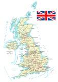 Zjednoczone Królestwo - szczegółowa mapa - ilustracja Obrazy Royalty Free