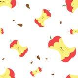 Zjedzony czerwony jabłko z ziarnami wzór również zwrócić corel ilustracji wektora Fotografia Stock