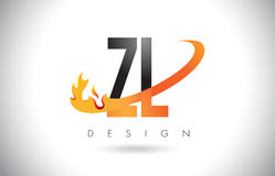 ZL Z L Letter Logo with Fire Flames Design and Orange Swoosh. Royalty Free Stock Photo