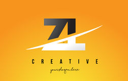 ZL Z L Letter Modern Logo Design with Yellow Background and Swoo Stock Photos