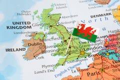 Zlana królestwo mapa, flaga Walia, brexit pojęcie obrazy stock