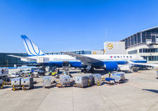 Zlana samolot pozycja przy terminal 1 w Frankfurt Fotografia Royalty Free