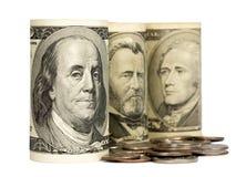 Zlani stanów dolary odizolowywający na bielu Zdjęcie Stock