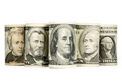 Zlani stanów dolary odizolowywający na bielu Zdjęcie Royalty Free