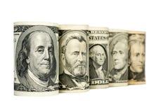 Zlani stanów dolary odizolowywający na bielu Zdjęcia Stock
