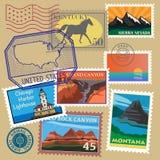 Zlani stanu rocznika poczta znaczki ustawiający Obraz Royalty Free