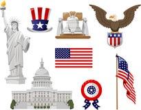 Zlani stany America ikony set ilustracja wektor