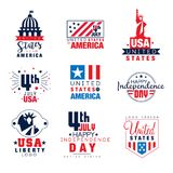 Zlani stany Ameryka loga szablony ustawiają, 4th Lipa dnia niepodległości odznak wektoru ilustracje ilustracji