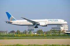 Zlany Boeing 787 zdjęcie royalty free