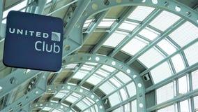 Zlany klubu znak, O'Hare lotnisko, Kwiecień 2019 obraz stock
