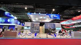 Zlany Samolotu Korporacja budka pokazuje militarnych i handlowych produkty przy Singapur Airshow (UAC) obrazy royalty free