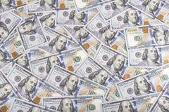 Zlany stanów dolarów waluty tło, nowi sto usa pieniędzy fotografia stock