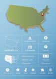 Zlany stan Ameryka mapa i podróży Infographic szablonu projekt Obraz Stock