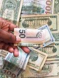 Zlany stanu dolar lub USD rachunki obraz royalty free