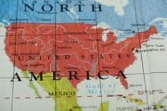 Zlany stanu kraj na papierowej mapie obraz stock