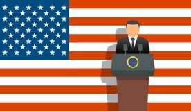 Zlany stanu prezydent, flaga i ilustracji