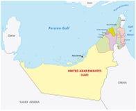 Zlanych arabskich emiratów administracyjna mapa Zdjęcia Stock