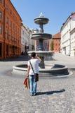 Zlata Ladjica喷泉在卢布尔雅那斯洛文尼亚 免版税库存图片