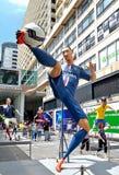 Zlatan Ibrahimović statue. A statue of Zlatan Ibrahimović displayed in Hong Kong Habour City during the World Cup 2014 Stock Photos