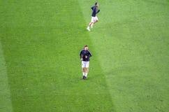Zlatan Ibrahimovic в действии перед мамами лиги чемпионов UEFA стоковое изображение