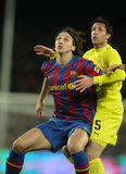 Zlatan Ibrahimovic. FC Barcelona player Ibrahimovic (L) with Capdevila (R) of Villarreal during Spanish league match at the Nou Camp Stadium on January 2, 2010 stock images