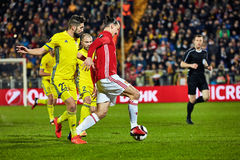 Zlatan Ibrahimovic Feyenoord Game moments in match. 1/8 finals of the Europa League between FC `Rostov` and `Manchester United`, 09 March 2017 in Rostov-on-Don stock photos