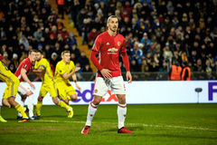 Zlatan Ibrahimovic Feyenoord , Game moments. In match 1/8 finals of the Europa League between FC `Rostov` and `Manchester United`, 09 March 2017 in Rostov-on stock photography
