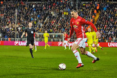 Zlatan Ibrahimovic Feyenoord Game moments. In match 1/8 finals of the Europa League between FC `Rostov` and `Manchester United`, 09 March 2017 in Rostov-on-Don royalty free stock images