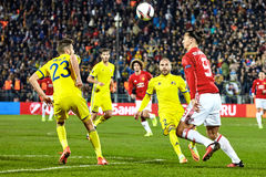 Zlatan Ibrahimovic Feyenoord Game moments. In match 1/8 finals of the Europa League between FC `Rostov` and `Manchester United`, 09 March 2017 in Rostov-on-Don royalty free stock photos