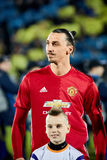 Zlatan Ibrahimovic Feyenoord in match 1/8 finals of the Europa League. Between FC `Rostov` and `Manchester United`, 09 March 2017 in Rostov-on-Don, Russia royalty free stock image