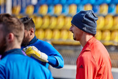 Zlatan Ibrahimovic Feyenoord on during training session. Before match 1/8 finals of the Europa League between FC `Rostov` and `Manchester United`, 08 March 2017 royalty free stock photos