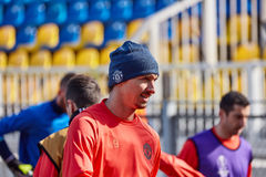 Zlatan Ibrahimovic Feyenoord on during training session. Before match 1/8 finals of the Europa League between FC `Rostov` and `Manchester United`, 08 March 2017 royalty free stock photo