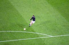 Zlatan Ibrahimovic w akci przed UEFA champions league ma Fotografia Royalty Free