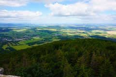 Zlate hory city from biskupska kupa tower. As nice landscape Royalty Free Stock Photos