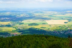 Zlate hory city from biskupska kupa tower. As nice landscape Stock Images